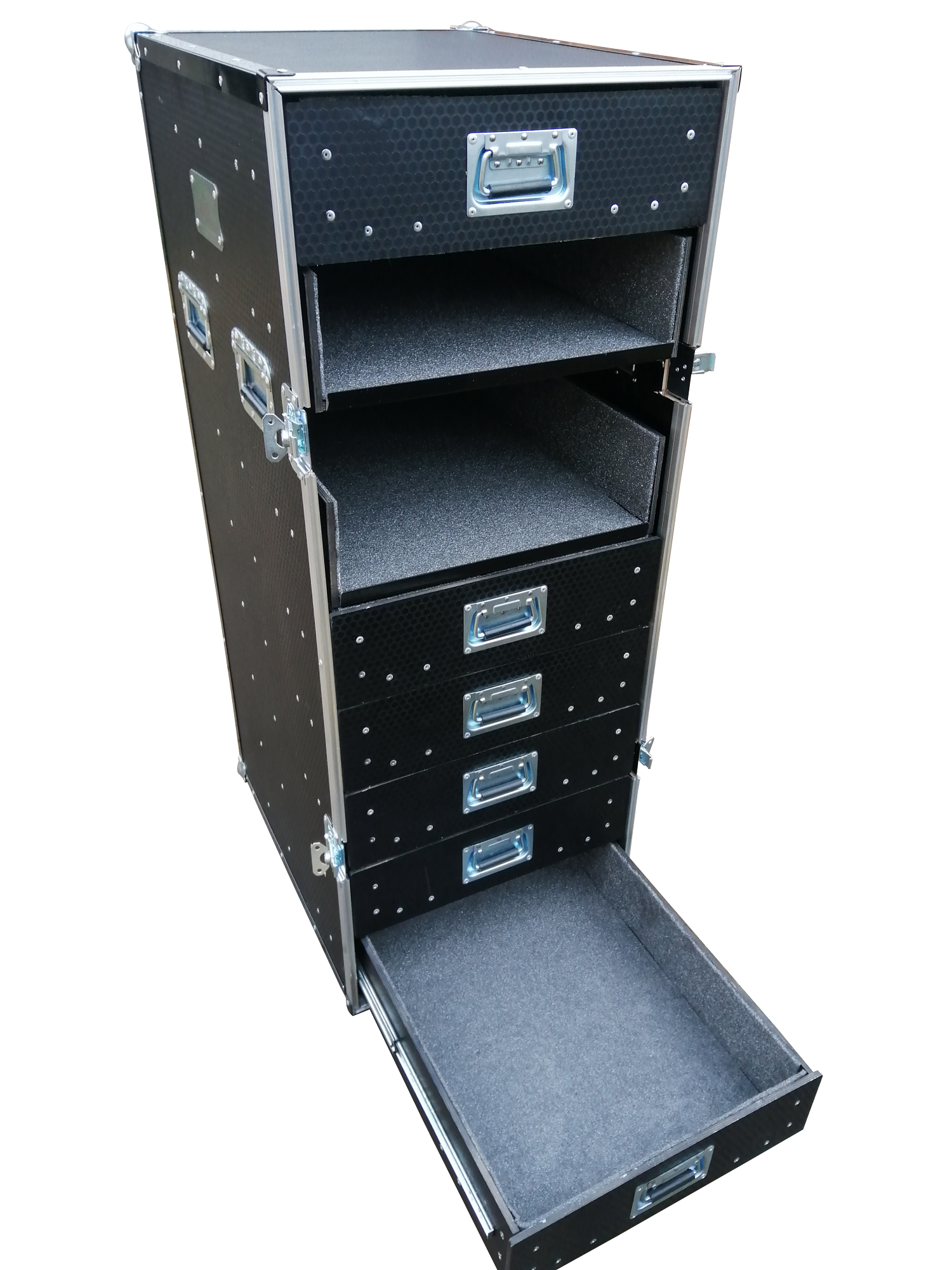 Flight case filing cabinet with drawers
