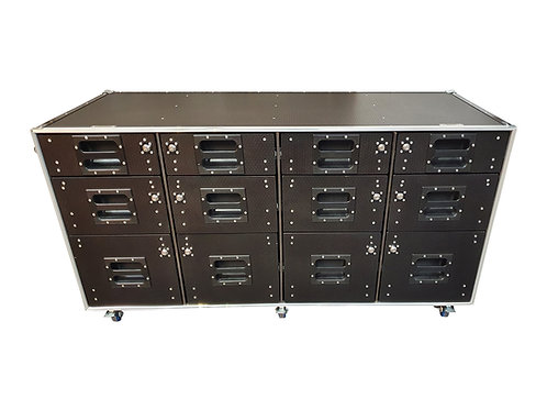 2 X Flight Case Roll Cabinet With 12 Lockable Draws