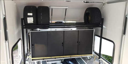 Trailer storage case and tyre rack