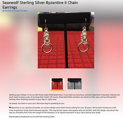 Seaxwolf Chain Earrings Product Descript