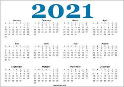 2021 Calander