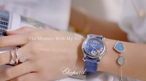 精鋼腕錶,夜色藍琺瑯錶盤配以1顆滑動玫瑰K金太陽、1顆滑動鑲鑽月亮、3顆滑動鑲鑽星星,自動上鍊機芯。