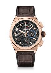 ZENITH Defy El Primero 21 玫瑰金腕錶,棕色鱷魚皮錶帶款,建議售價NT$929,000.jpg