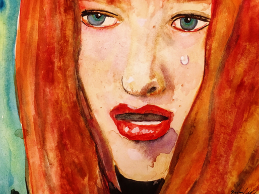 Leeloo learns about War, Watercolor