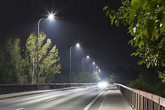 long night street with modern LED street