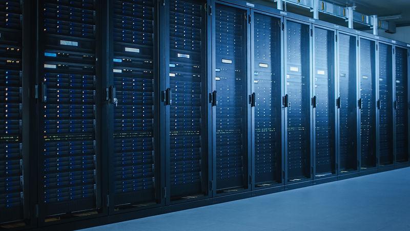 Shot of Modern Data Center With Multiple