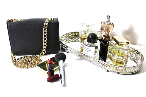 """""""LA SCALA"""" CHAINED EVENING BAG IN BLACK"""
