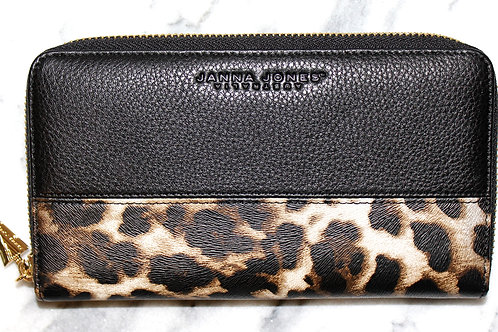 BLACK LEOPARD GALLERIA PURSE