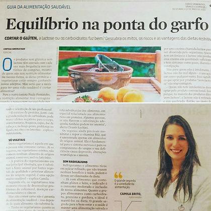 Nutricionista Trindade e CentroMatéria no Diário Catarinense:Tema: Equilíbrio na Ponta do Garfo