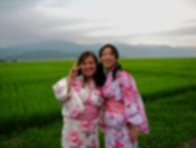 Taylor and Mami in Yukatas by rice field