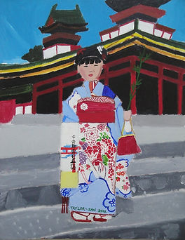 Live Your Dream: The Taylor Anderson Story Taylor's Painting of Japanese Lady in Kimono at a temple