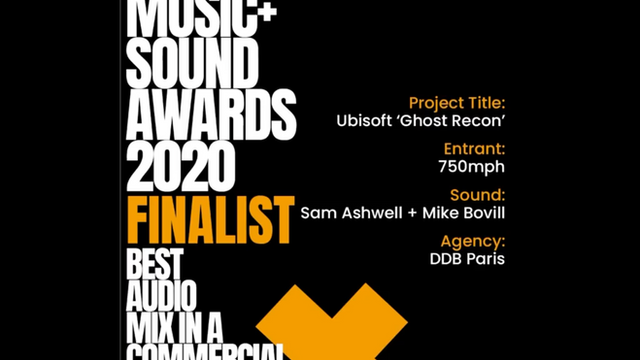 """""""Ghost Recon: Breakpoint"""" a Finalist in """"Best Audio Mix in a Commercial"""""""