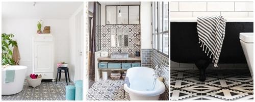 Les carreaux ciment dans la salle de bains atelier des for Peindre les carreaux de salle de bain