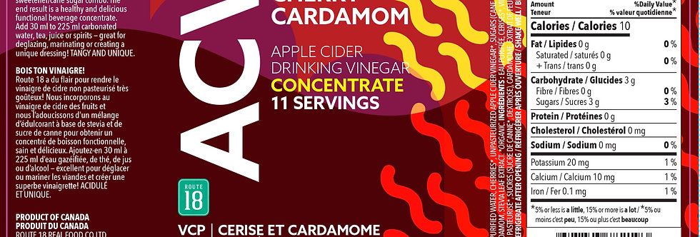 Apple Cider Vinegar Drink Concentrate CHERRY CARDAMOM 355 ml
