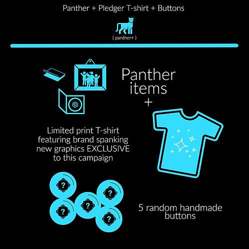 Panther + Pledger T-shirt + Buttons