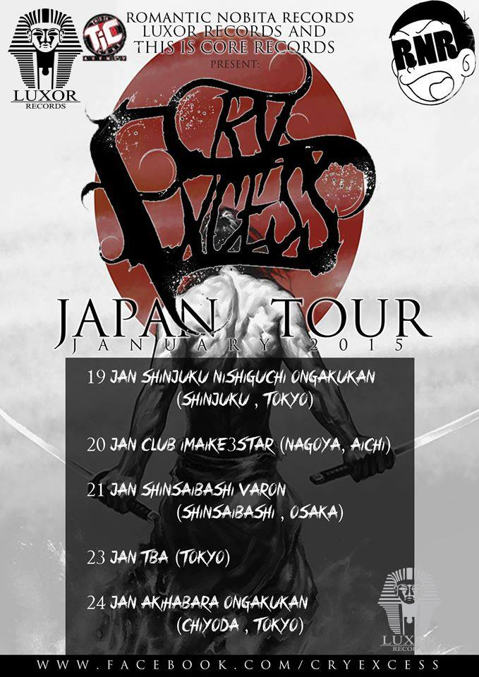 Cry Excess announce Japan tour 2015