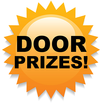 "graphic Sun with words ""door prizes"""