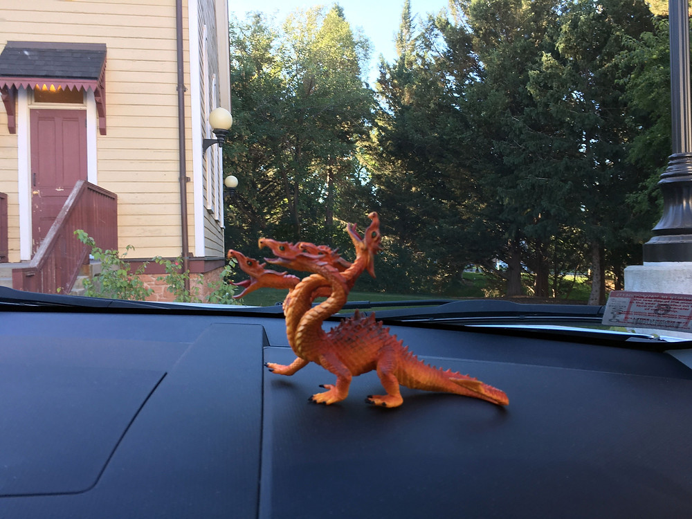 Dragon on car dashboard in Salt Lake City
