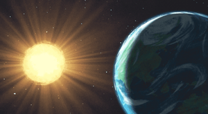 Artistic illustration of sun with rays and earth