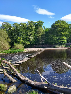 Stepping stones across the river at Burley in Wharfedale
