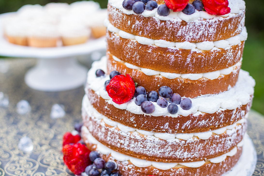 Naked wedding cake, berry cak, rustic wedding cake