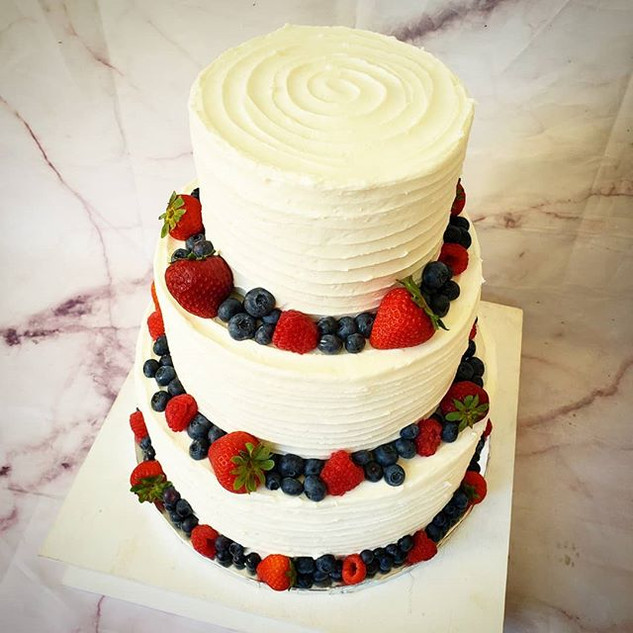 Delivered this wedding cake with fresh f