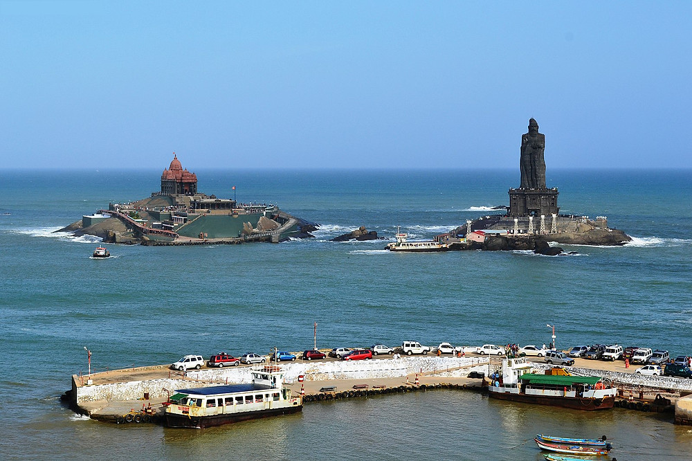 swamivivekananda rock memorial and people onlooking it.