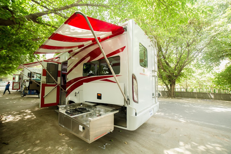 a motorhome or caravan with its kitchen out