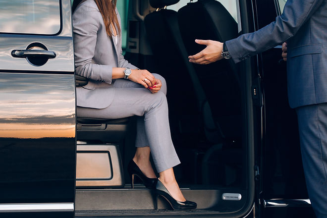 Business woman travelling in vip car tra