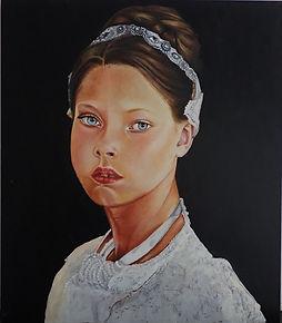 Oil Painting in Dietro Aria Technique / Old masters Technique by Stand Bert Singer Number::114 Das Mädchen mit dem Halsreif