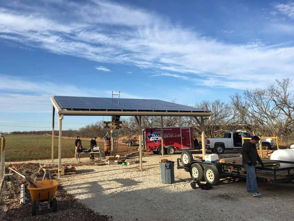 Tye, Tx Solar Install that doubles as covered parking.