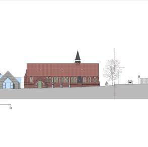 Elevation - new hall & church