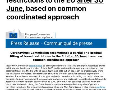Comisia Europeană vrea redeschiderea frontierelor externe ale UE după 1 iunie 2020