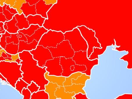 O singură zonă verde pe harta belgiană, din ce în ce mai multe roșii!