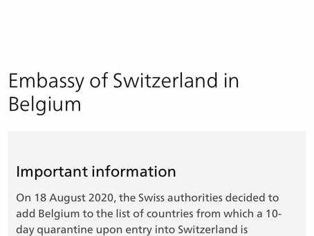 Elveția impune carantină celor care vin din Belgia