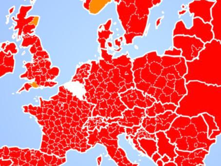 Harta continentală a UE este roșie pe alertele de călătorie belgiene