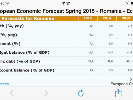 """Comisia Europeană estimează că România va avea o creștere economică """"robustă"""" în 2015 și 2"""