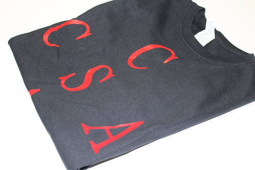 CSA CROSS T-SHIRT - BLACK W/RED