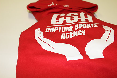 """CSA """"HOME TEAM"""" PULLOVER HOODIE - RED W/WHITE"""