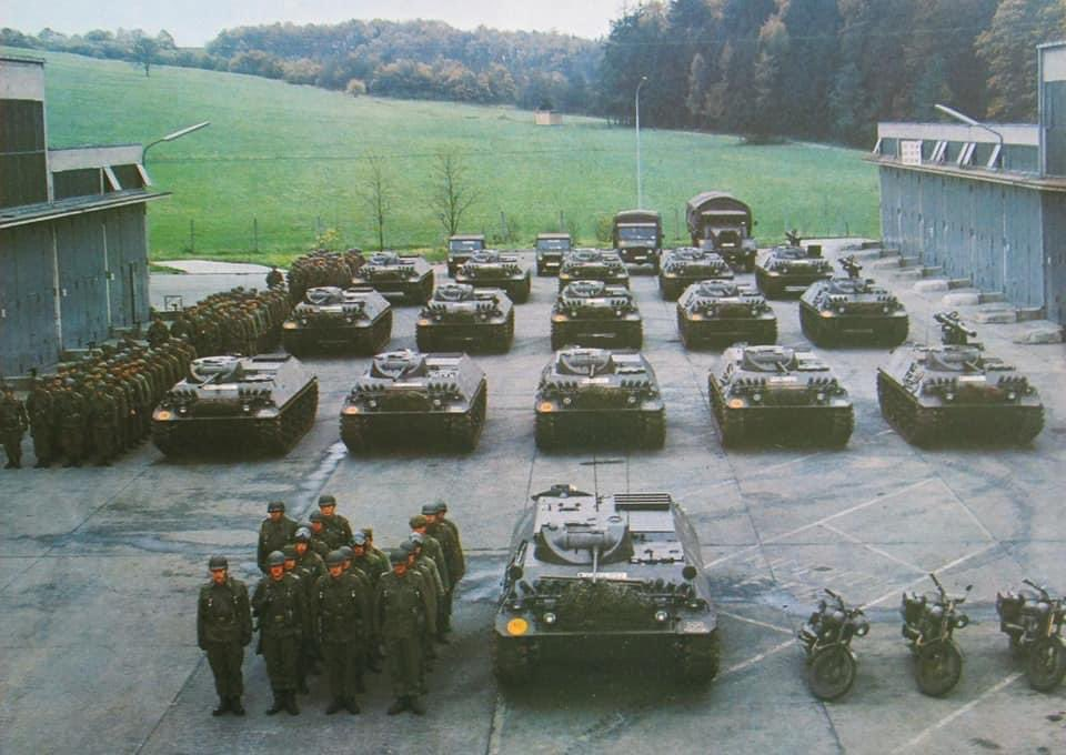 The vehicles and men of a Panzergrenadier Company all lined up.