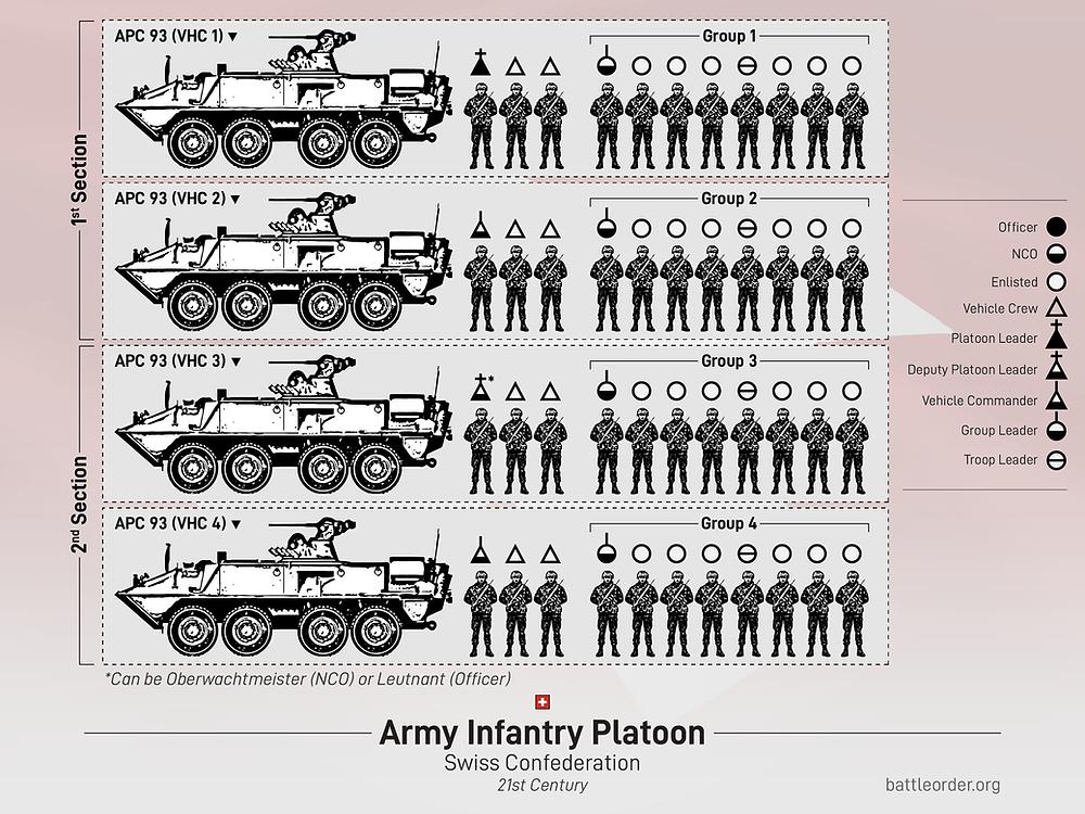 Swiss Rifle Platoon Organization with Piranha 2C