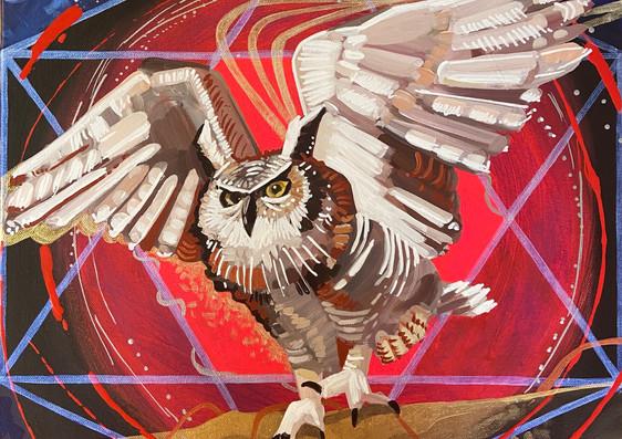 Guardian of Night, 16_x16_ acrylic on canvas