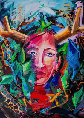 "Sophia Gaia, 36""x36"" oil on canvas"