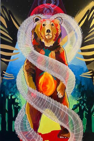 "Seraphim Bear, 20""x36"" acrylic on canvas"