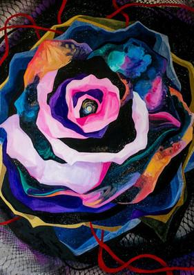 I AM COSMIC, 36_x36_ mixed media on canvas