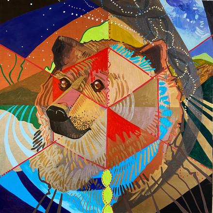 "Sister Bear, 16""x16"" acrylic on panel"