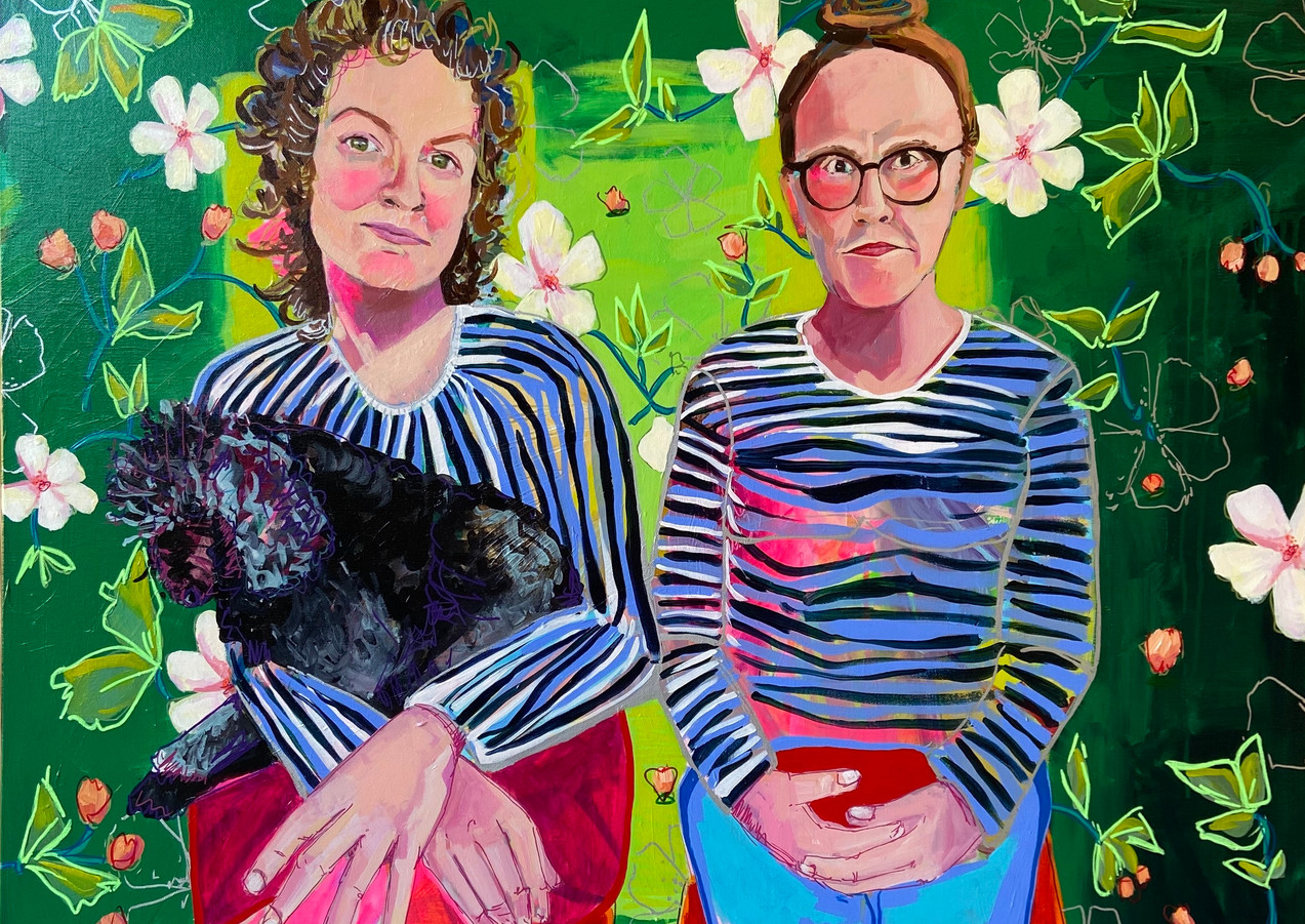 "Quarantine Sisters, 36""x36"" acrylic on canvas"