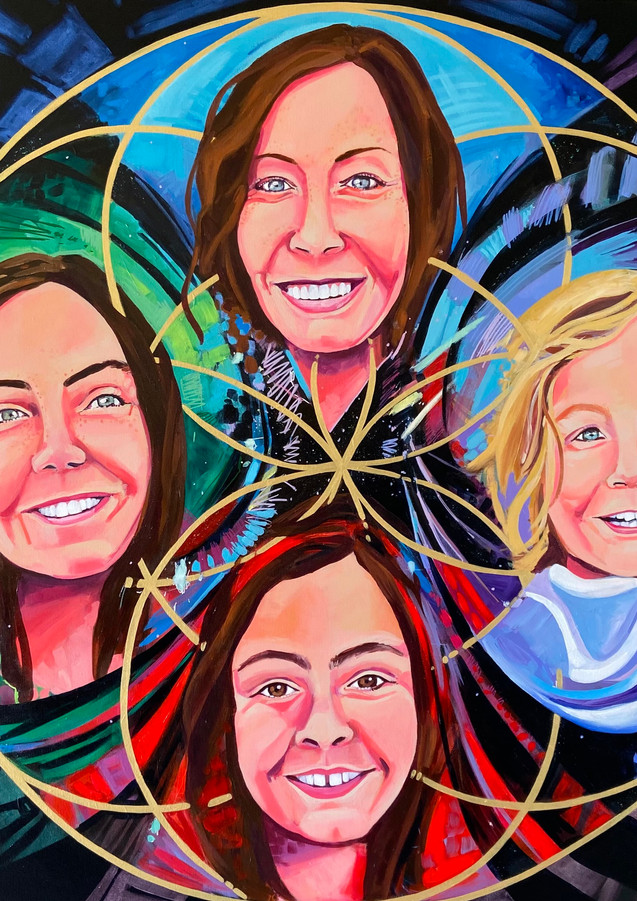 """The Seeds of Family, 38""""x38"""" acrylic on canvas"""