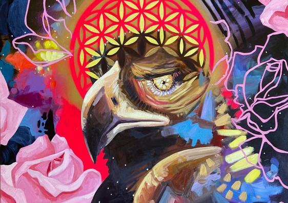 I AM SPIRIT, 24_x24_ acrylic and oil on canvas
