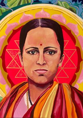 """Sri Jayalakshmimi, 36""""x36"""" oil on canvas"""